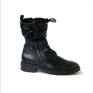 Dolce Vita Black Leather Combat Moto Boots